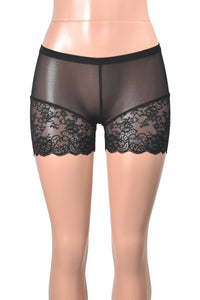 "Black Mesh Lace Leg Shorts (3.5"" inseam)"
