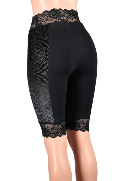 "Knee Length High-Waisted Brocade Velvet Side Black Stretch Lace Shorts (10.5"" inseam)"