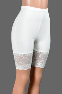 "High-Waisted Ivory or White Stretch Lace Shorts (Elastic Waist, 8.5"" Inseam)"