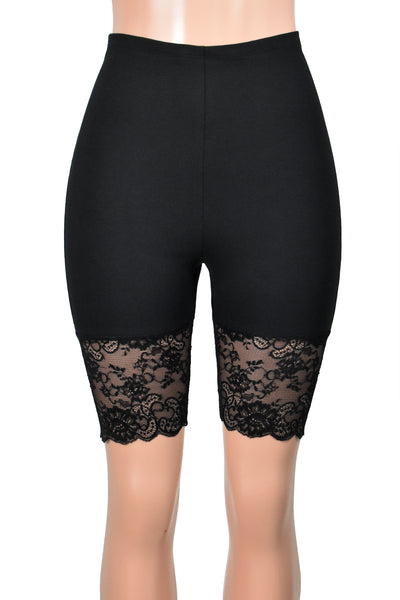 "High-Waisted Black Stretch Lace Shorts (Elastic Waist, 8.5"" Inseam)"