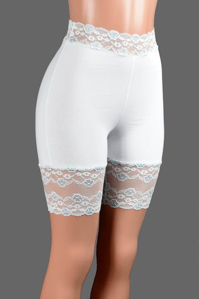 "White and Baby Blue High-Waisted Stretch Lace Shorts (8"" inseam)"