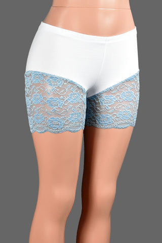 "White and Blue Lace Leg Shorts (4.5"" inseam)"