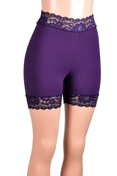 "High-Waisted Dark Purple Stretch Lace Shorts (5"" inseam)"