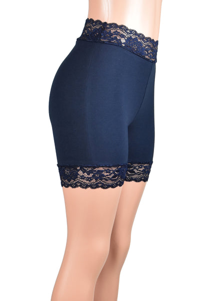 "High-Waisted Navy Blue Stretch Lace Shorts (5"" inseam)"