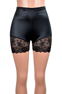 "High-Waisted Black Satin Lace Leg Shorts (3.5"" inseam)"