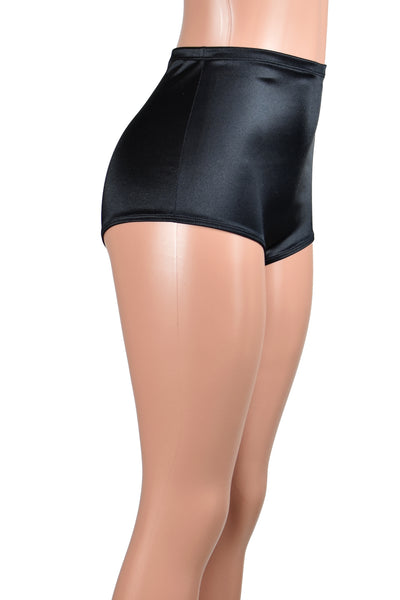 High-Waisted Black Stretch Satin Booty Shorts