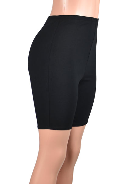 High-Waisted Black Cotton Spandex Bike Shorts