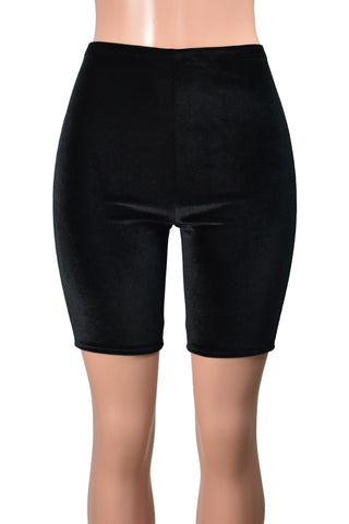 High-Waisted Black Stretch Velvet Bike Shorts