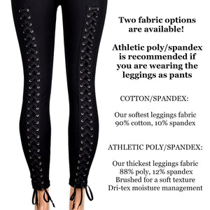 Back Lace-Up Leggings (cotton or poly spandex)