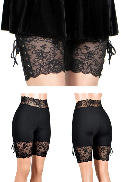 "Black Lace-Up Stretch Lace Shorts (8.5"" inseam)"