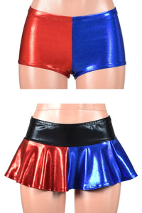 Two Item Deal: Shiny Blue and Red Booty Shorts and Shiny Blue and Red Micro Mini Skirt