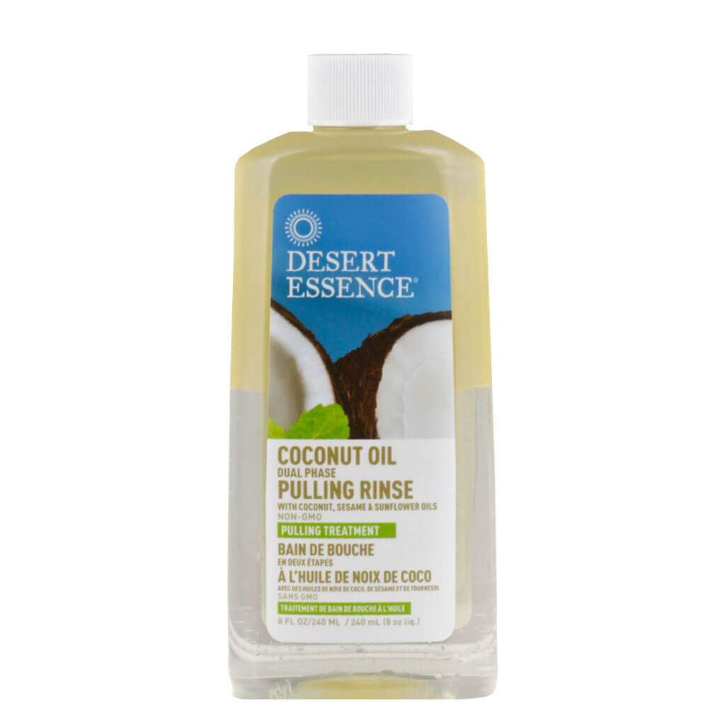 Desert Essence, Enjuague Bucal de Doble Fase con Aceite de Coco, 240ml