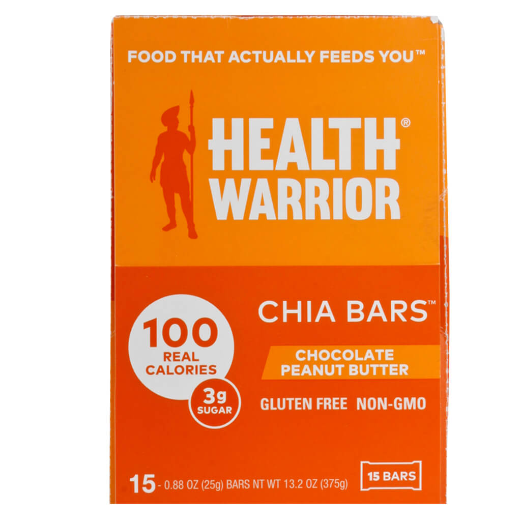 Health Warrior, Barra Chía, Chocolate y Crema de Cacahuate, 15 barritas de 15 g c/u