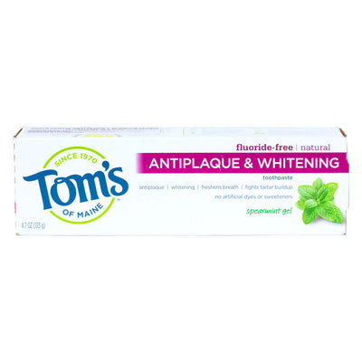 Tom's of Maine, Pasta Dental Anti Placa y Blanqueadora, Libre de Fluoruro, Menta en Gel, 133g