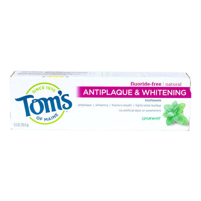 Tom's of Maine, Pasta Dental Antiplaca y Blanqueadora, Sin Fluoruro, Menta, 155.9g