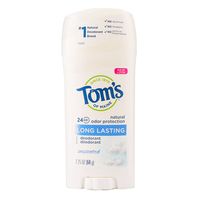 Tom's of Maine, Desodorante en Barra, Larga Duración, Sin Fragancia, 64g