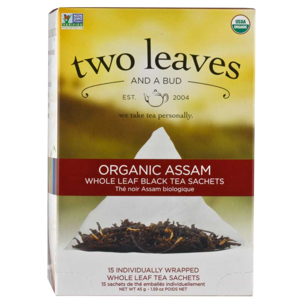 Two Leaves and a Bud, Té Negro, Orgánico de Assam, 15 pz, 37.5 g