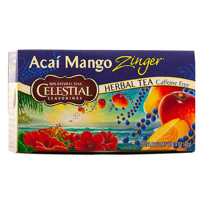 Celestial Seasonings, Té Herbal con Bayas Acai y Mango, Descafeinado, 20 pz, 42g