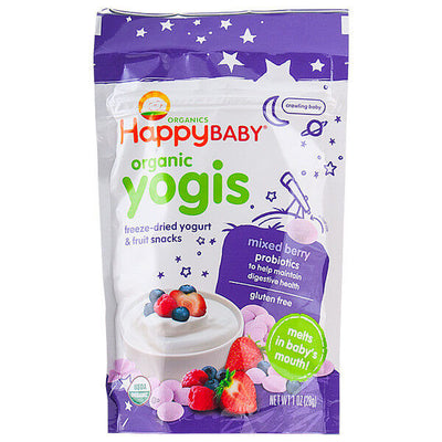 Happy Baby, Happy Yogis, Snacks de Bayas Mixtas y Yogurt, 28g