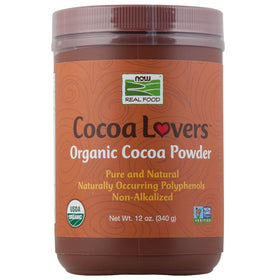 Now, Cocoa Lovers, Cacao Orgánico en Polvo, 340 g
