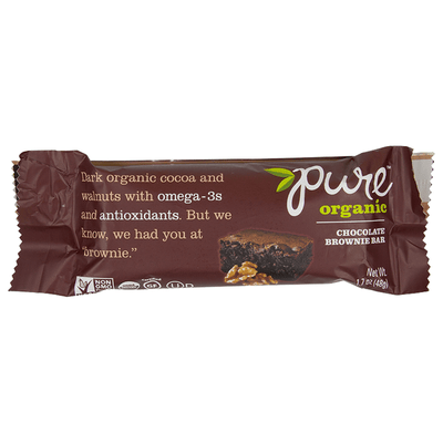 Pure Organic, Barra Brownie de Chocolate, 48 g