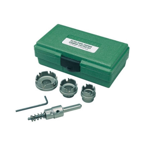 "Greenlee 655 Quick Change Stainless Steel Hole Cutter Kit (7/8"", 1-1/8"", 1-3/8"")"