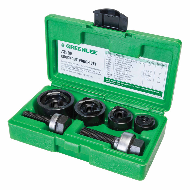 "Greenlee 735BB Knockout Punch Kit, 1/2"" to 1-1/4"""