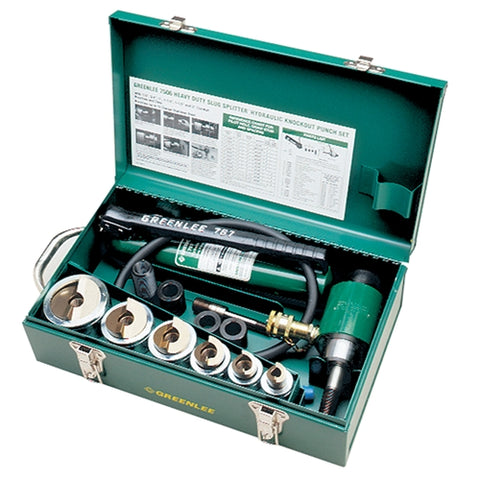 "Greenlee 7506 1/2"" - 2"" Conduit Size Slug-Splitter Knockout Punch Kit with Hydraulic Ram and Hand P"