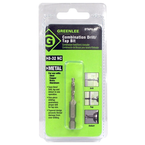 Greenlee DTAP8-32 DRILL/TAP, 8-32.