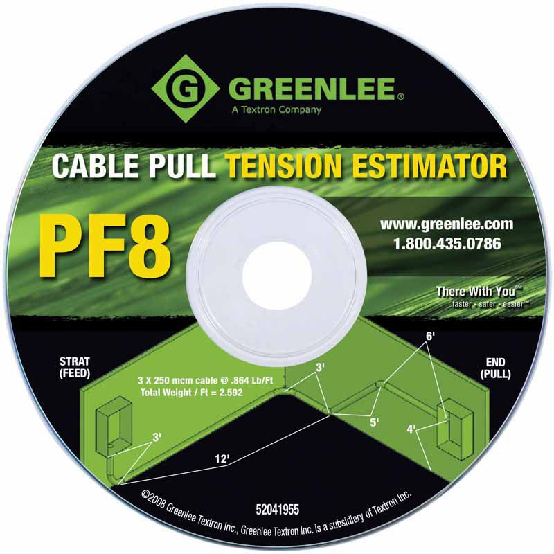 Greenlee PF8 Cable Pulling Tension Estimator CD