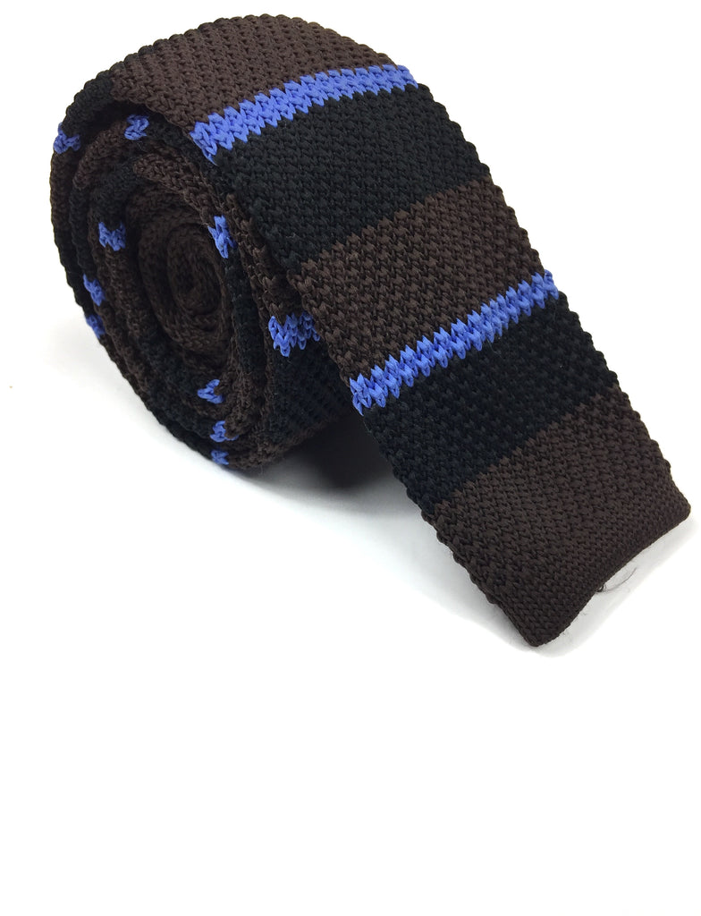 Brown Striped Knit Tie | G+Co. Apparel