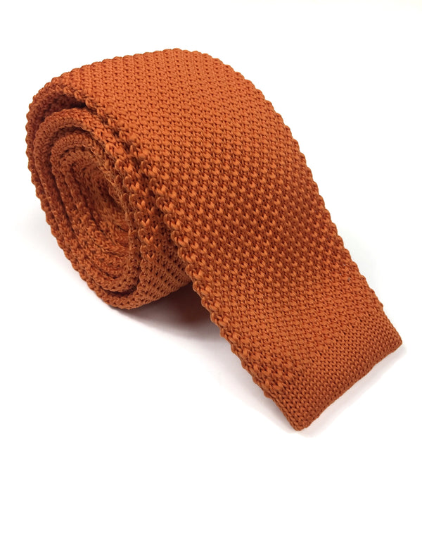 Solid Orange Knit NeckTie | G+Co. Apparel