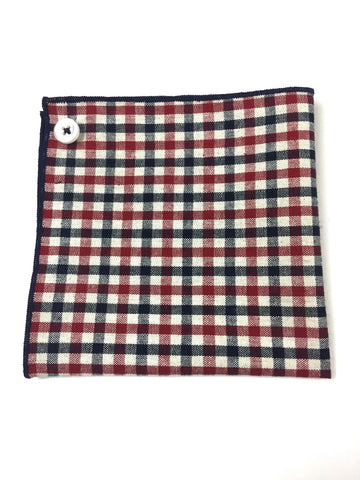 Navy and Red Checkered Pocket Square