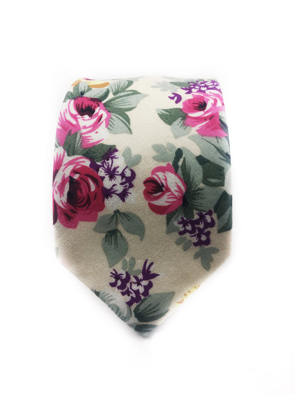Cream Floral Cotton Tie