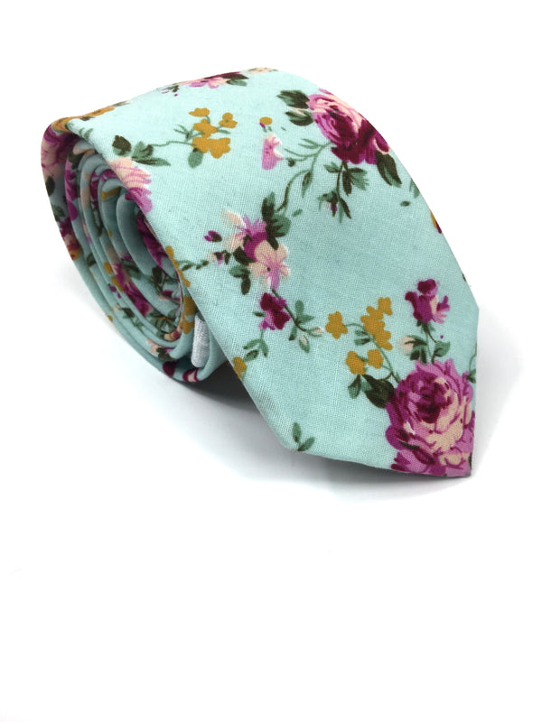 AquaMarine Mint Floral Necktie | G+Co. Apparel