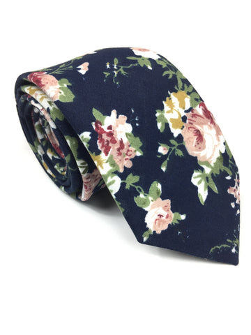 Navy Floral Cotton NeckTie | G+Co. Apparel