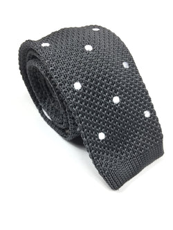 Grey Polka Dot Knit NeckTie | G+Co. Apparel