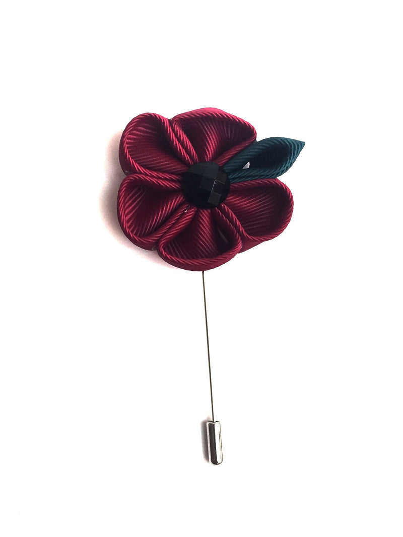 Burgundy Flower Lapel Pin | G+Co. Apparel