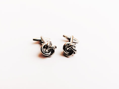 Silver Metal Knot Cufflinks | G+Co. Apparel