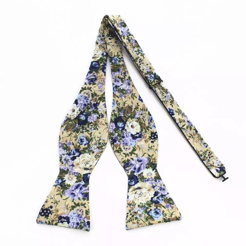 Cream and Lavender Floral Bow Tie