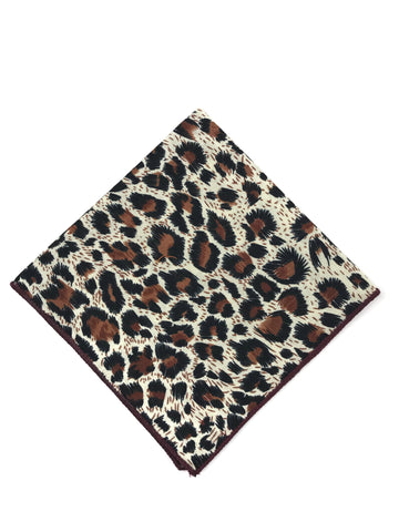 Brown Leopard Print Pocket Square
