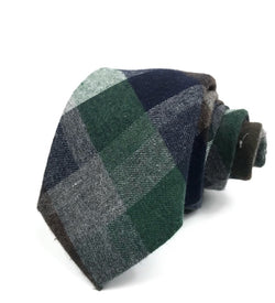 Green, Navy and Brown Plaid Tie