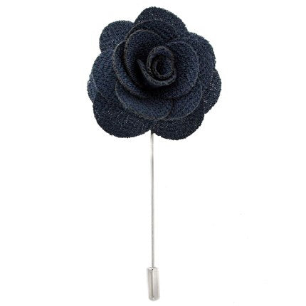 Navy Blue Flower Lapel Pin