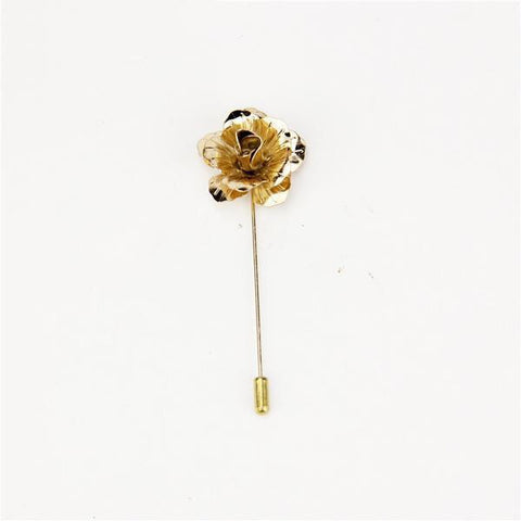 Gold Metallic Rose Lapel Pin