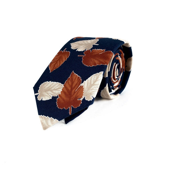 Navy and Orange Leaf Tie