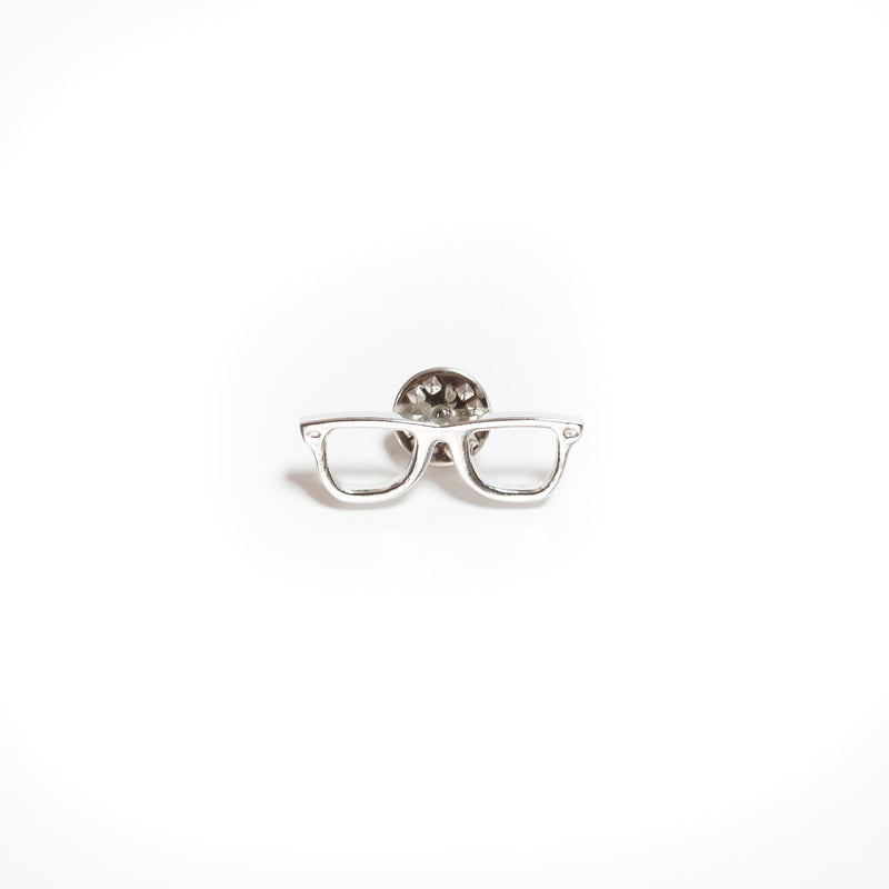 Silver Glasses Lapel Pin