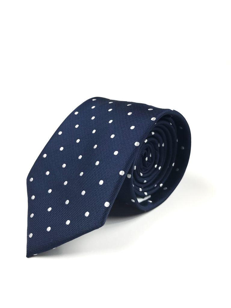 Navy Blue and White Polka Dot Tie