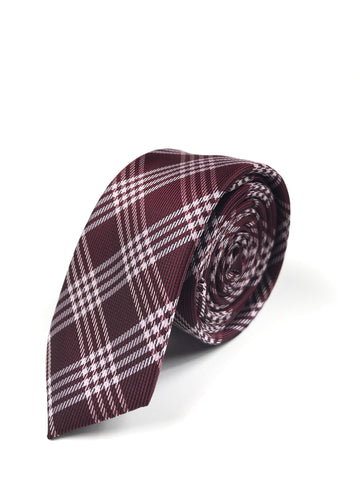 Burgundy and White Plaid Tie