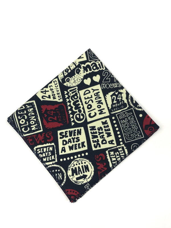 Navy White and Red Pocket Square
