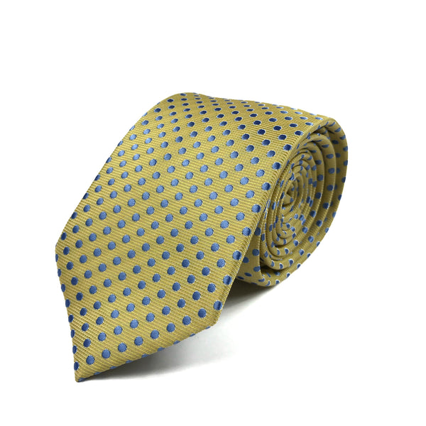 Yellow and Light Blue Polka Dot Tie
